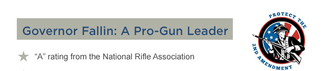 Governor Mary Fallin - A pro-gun leader. Received an A rating from the National Rifle Association